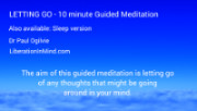 Letting go - 10 minute guided meditation