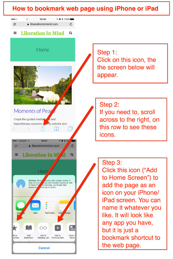 How to book mark a page so it looks like an app